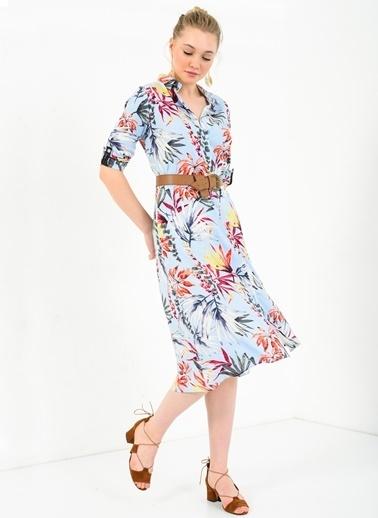 Çiçekli Gömlek Elbise-Ola